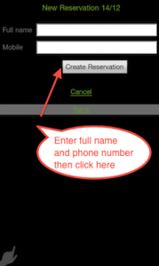 Enter your details and press Create Reservation